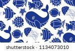 cute underwater seamless... | Shutterstock . vector #1134073010