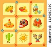 mexico icons vector...   Shutterstock .eps vector #1134087380