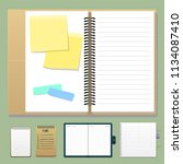 set of open realistic notebooks ... | Shutterstock .eps vector #1134087410