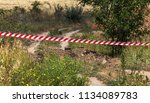 red and white lines of barrier... | Shutterstock . vector #1134089783