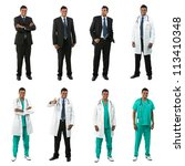 Different poses of the same male model wearing business and medical clothing. Isolated over white background. - stock photo