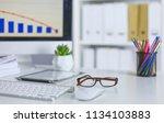 workspace presentation mockup ... | Shutterstock . vector #1134103883
