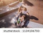 two female skaters friends...   Shutterstock . vector #1134106703