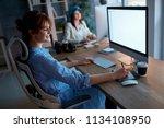 creative team working overtime... | Shutterstock . vector #1134108950