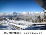 alpine winter descent from peak   Shutterstock . vector #1134111794