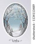 merry christmas greetings card... | Shutterstock .eps vector #1134113489