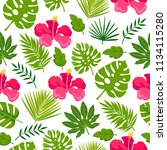 seamless floral background with ... | Shutterstock .eps vector #1134115280