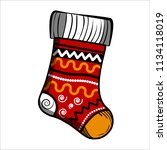 color sketch christmas sock.... | Shutterstock . vector #1134118019