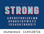 condensed bold 3d display font  ... | Shutterstock .eps vector #1134128726