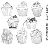cupcake set   Shutterstock .eps vector #113413348