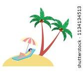 woman on deck chair umbrella...   Shutterstock .eps vector #1134134513