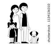 happy family with dog mascot... | Shutterstock .eps vector #1134136310