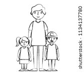 father with little kids | Shutterstock .eps vector #1134137780