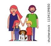 happy family mom dad son...   Shutterstock .eps vector #1134139850