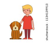 smiling little boy with her dog ... | Shutterstock .eps vector #1134139913