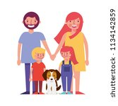 happy family with dog mascot... | Shutterstock .eps vector #1134142859