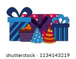 gifts boxes present with hats... | Shutterstock .eps vector #1134143219