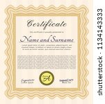 orange sample certificate or... | Shutterstock .eps vector #1134143333
