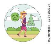 woman cartoon practicing... | Shutterstock .eps vector #1134153329