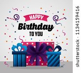 happy birthday card | Shutterstock .eps vector #1134159416