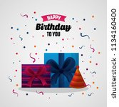happy birthday card | Shutterstock .eps vector #1134160400