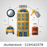 hotel building taxi suitcase... | Shutterstock .eps vector #1134162578