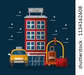 hotel building taxi and suitcase | Shutterstock .eps vector #1134162608
