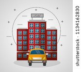 hotel building and taxi service ... | Shutterstock .eps vector #1134162830