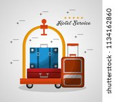 hotel building taxi and suitcase | Shutterstock .eps vector #1134162860