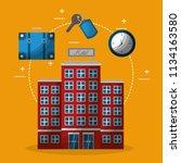 hotel building clock suitcase... | Shutterstock .eps vector #1134163580