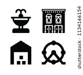 filled buildings icon set such... | Shutterstock .eps vector #1134166154