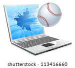 Illustration of a baseball ball flying out of a broken laptop computer screen - stock vector