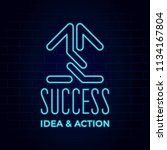 success neon sign style hand... | Shutterstock .eps vector #1134167804
