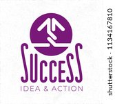 success hand crafted logo with... | Shutterstock .eps vector #1134167810