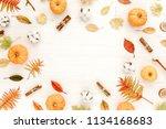 frame made of dry autumn leaves ... | Shutterstock . vector #1134168683