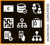 set of 9 business filled icons...
