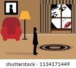 a woman's face fills the frame... | Shutterstock .eps vector #1134171449