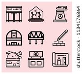 outline buildings icon set such ... | Shutterstock .eps vector #1134176864
