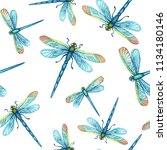 Stock photo watercolor hand drawn seamless pattern with beautiful blue dragonflies on a white background 1134180146