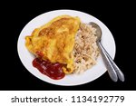 omelet on rice with ketchup... | Shutterstock . vector #1134192779