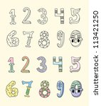 doodle hand drawn numbers in... | Shutterstock .eps vector #113421250