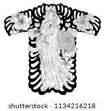 guan yin god of chinese design... | Shutterstock .eps vector #1134216218