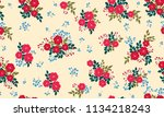 seamless floral pattern with... | Shutterstock .eps vector #1134218243
