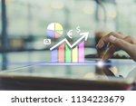 woman hand using smartphone or... | Shutterstock . vector #1134223679
