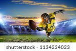 center player with ball in... | Shutterstock . vector #1134234023
