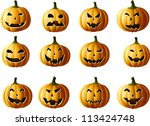 set of jack o lanterns isolated ... | Shutterstock .eps vector #113424748