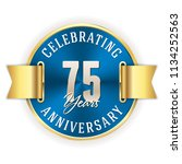blue celebrating 75 years ... | Shutterstock .eps vector #1134252563