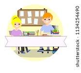 cartoon illustration   group of ... | Shutterstock . vector #1134254690