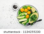 healthy nourishment bowl with... | Shutterstock . vector #1134255230