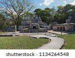ancient maya building at muyil...   Shutterstock . vector #1134264548